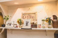 Coffee sign and books. Coffee shop bridal shower. Bridesmaidsconfession.com